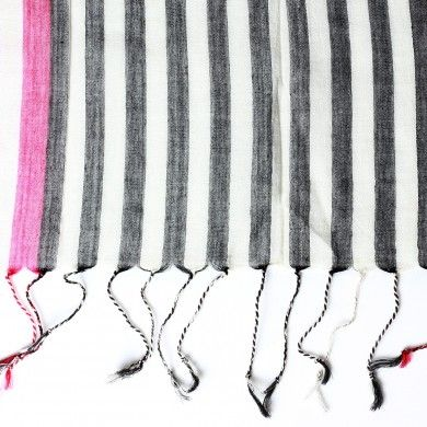 Dual Striped Cotton Stole - A study in stripes, these cotton stoles provide colour options in different degrees of stripe lengths.