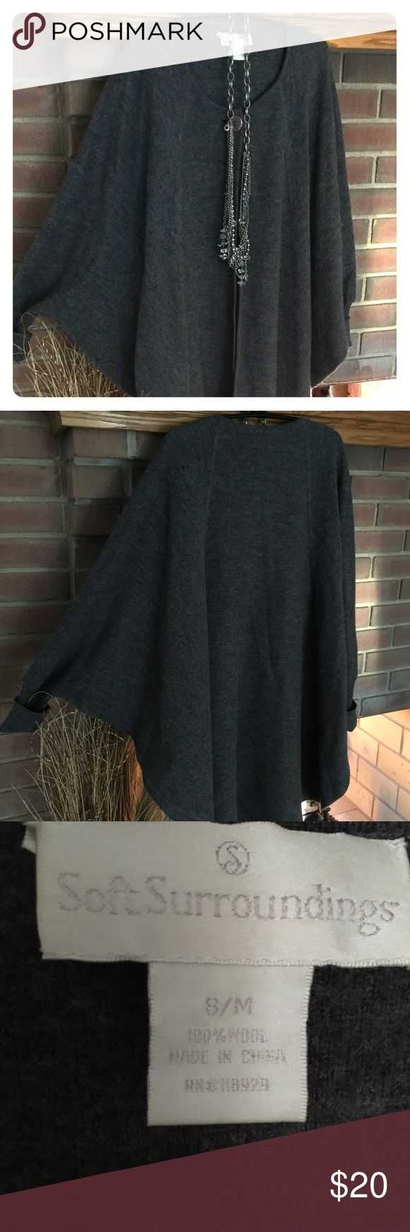 "Coldwater Creek Sleeved Cape-S/M 100% Wool.  Single button/""batlike"" sleeves.  This will definitely keep the chill out.  Dress up or down. Coldwater Creek Jackets & Coats Capes"