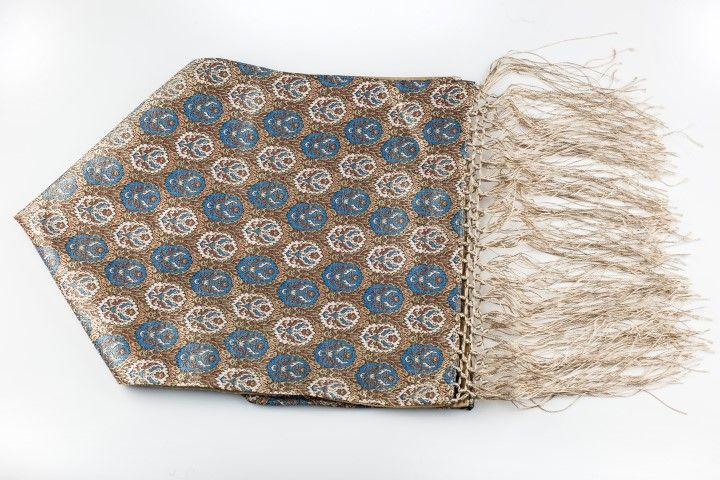 Silk brocade scarf Beige Hazelnut style - EmKha