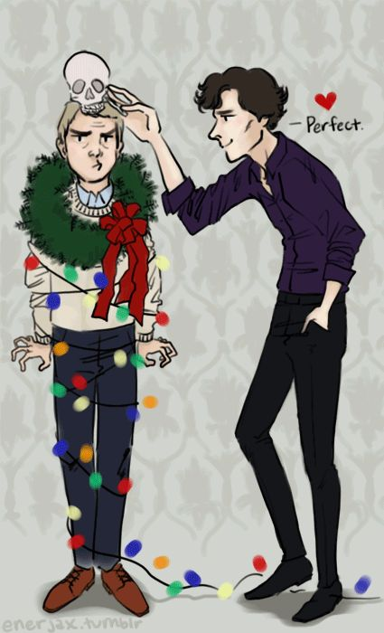 Yay I saw a thor and loki one of these and now there's sherlock and john I love christmas fanart and I'm so happy!!!!