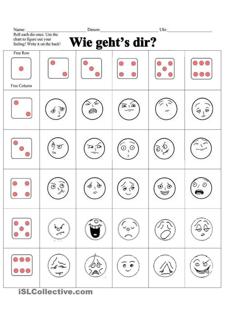 Arbeitsblätter - Wie Gehts dir? Gefühle und Gesichtsausdrucke