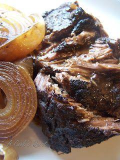 Balsamic Beef and Onion Pot Roast 3-4 lb boneless chuck, 2-3 large onions, 1 c beef stock, 1/2 c balsamic vinegar, 1/2 c tomato sauce.