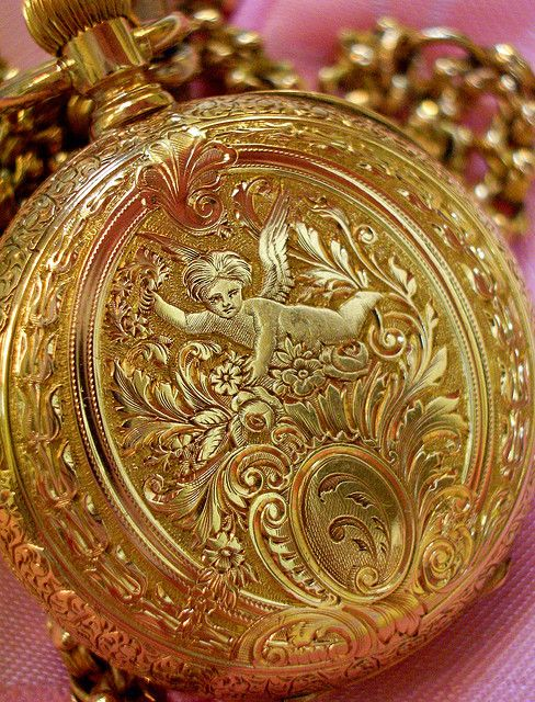 """the angel is in the details Ladies """"pocket"""" watch circa 1800's, actually worn around the neck."""