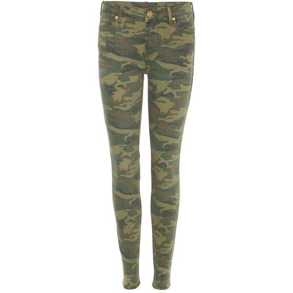 True Religion Halle Camouflage Skinny Jeans ($280) ❤ liked on Polyvore featuring jeans, green, camo print jeans, skinny fit jeans, true religion, green jeans and true-religion skinny jeans