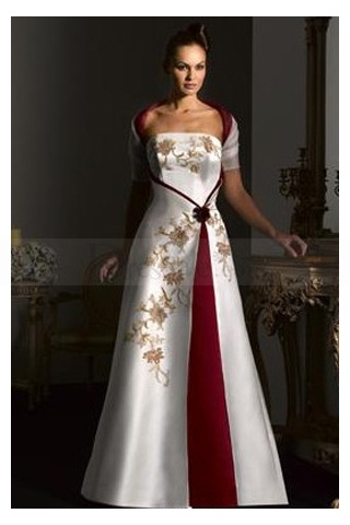 Elegant satin a line wedding gown with chapel train for White wedding dress with blue accents