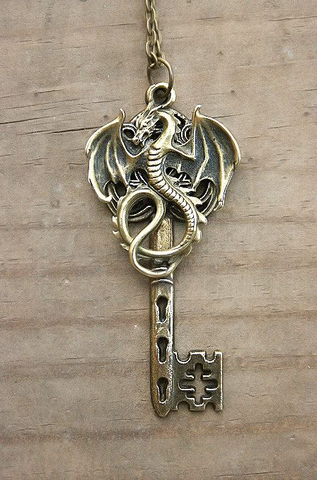 Skyrim Inspired Bronze / Brass Dragon Key Necklace by MythicalFolk, $20.00