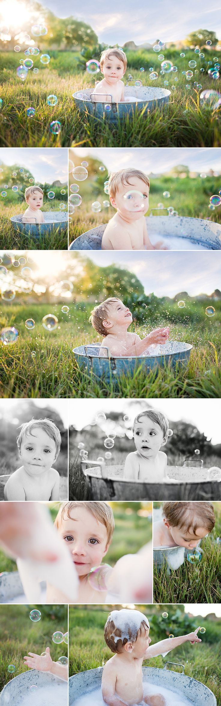 cute bubble bath photo shoot! I can so do this in my back yard with the oriental grass as the background!