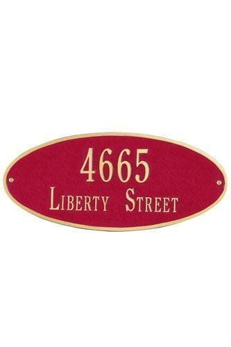Oval Two-Line Standard Wall Address Plaque - standard/2 line, Red by Home Decorators Collection. $125.00. Oval Two-Line Standard Wall Address Plaque - It's Your Own Little Corner Of The World - So Why Not Mark It With Pride? A House Sign Announces A Message Of Distinction. These Premium, Textured And Dimensional Address Plaques Are Designed With Large Letters And Numbers For Maximum Visibility. Choose From Our Exceptional Array Of Custom Address Plaques To Find The House Sign T...