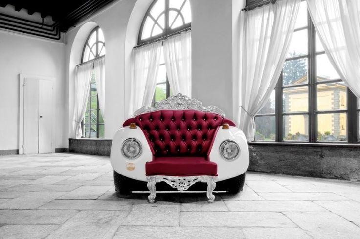 Кресло из Volkswagen Beetle 1968 г : В результате сотрудничества между Андреа Коломбо и Линды Ассандри появилось гламурное кресло-жук. Дуэт издизайн Glamour ZAC запустили производство уникальную мягкую мебель,в котором сочетается элементы в стиле барокко и арт-кар. В креслах...
