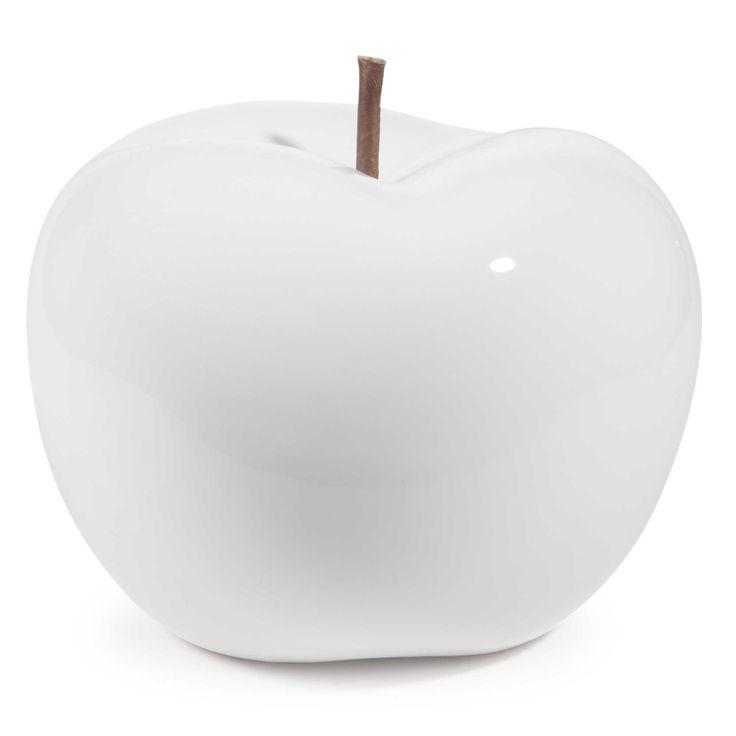 Statuette pomme en polyr sine blanche h 21 cm malmo for Maison du monde 21