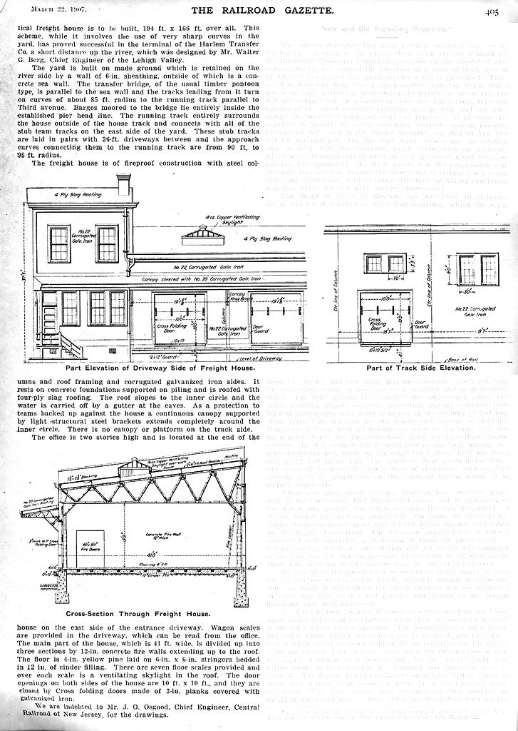 The Railroad Gazette CNJ Freight House drawings - 1907(2 ... on railroad engine house, railroad freight yards, railroad freight cart, railroad freight sidings, railroad weigh scale house, railroad container house,