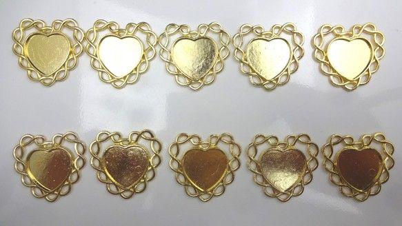 ゴールド ミール皿 10枚★g29★ハート/台座 レジン液 アクセサリー ...