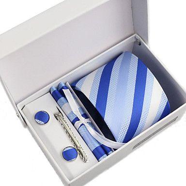 Slips / Lommetørklæde / Slipsenål / Manchetknapper ( Blå , Polyester ) Mønster 4557636 2016 – kr.60