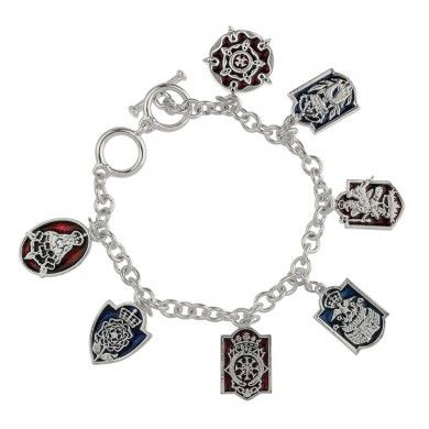 Tudor Charm Bracelet from Historic Royal Palaces, featuring the badges of Henry VIII and his Six Wives.