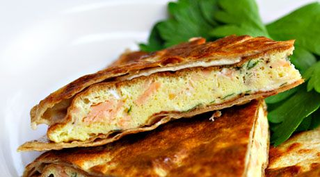 Recipe for breakfast quesadilla with smoked salmon and brie {The Perfect Pantry}