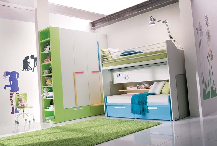 loft beds for girls | and Blue Teen Girls Bedroom with Sliding and Loft Bed – Teen Girls ...