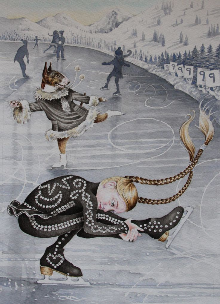 Ice skating 9th Birthday card by Lucy Everitt