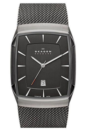 Skagen 'Titanium' Rectangular Watch | Nordstrom