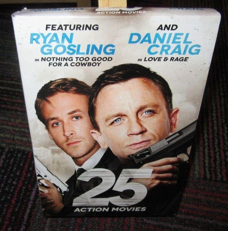 25 ACTION MOVIES 4 DISC DVD SET, RYAN GOSLING, DANIEL CRAIG, SANDRA BULLOCK, NC