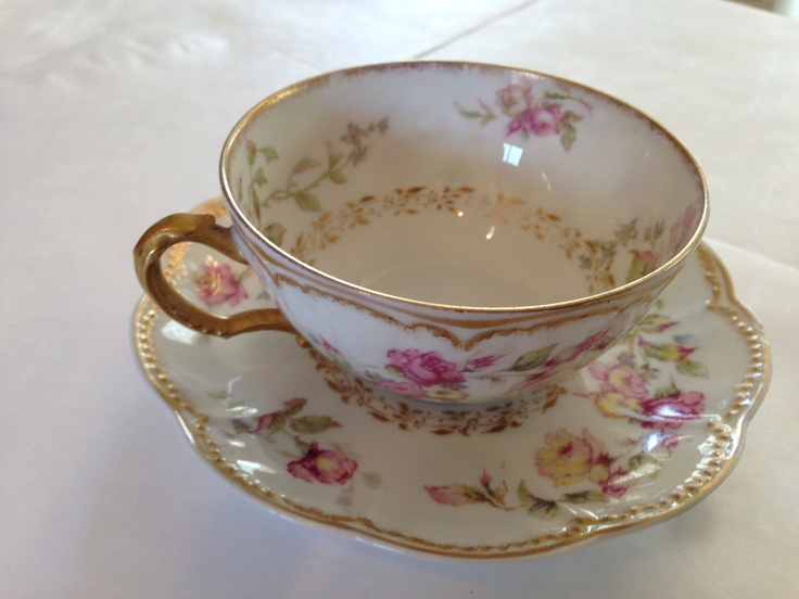 Haviland Limoges France Tea Cup And Saucer Gold And Roses