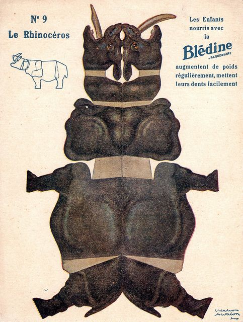 "bledine rhinocéros by pilllpat (agence eureka), via Flickr. Advertising folding-cutting offered by ""The Blédine"""
