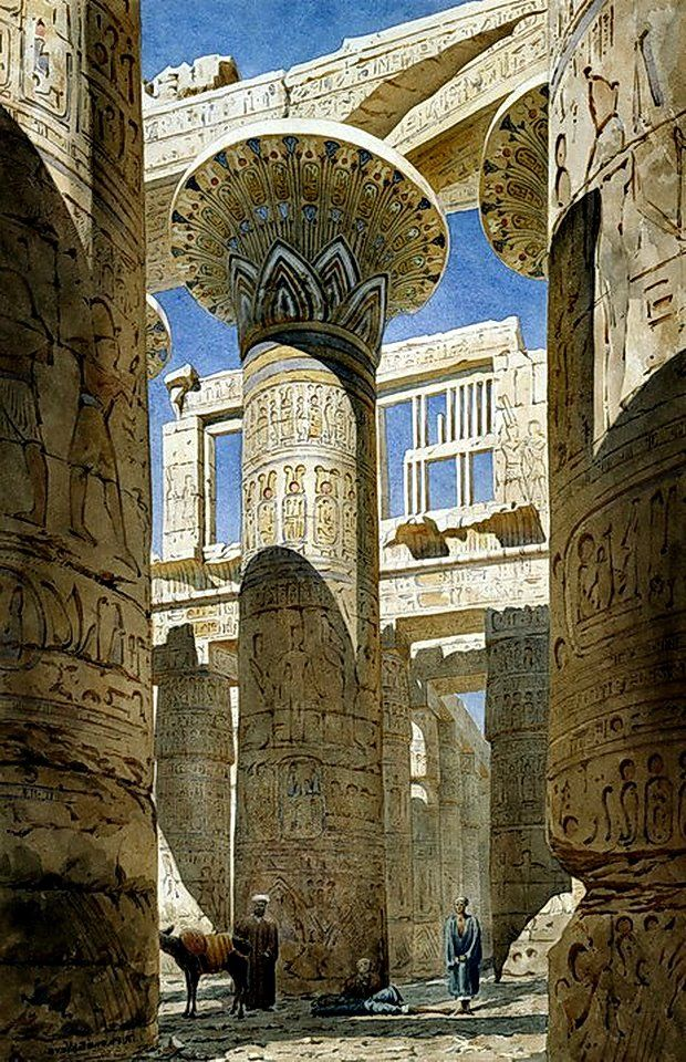 The Hall of Columns , Karnak ( Luxor) Egypt  View across centre avenue', 1866. Watercolour on paper   Temple complex at Thebes (Luxor). .  by Richard Phene Spiers (1838-1916) English Architect