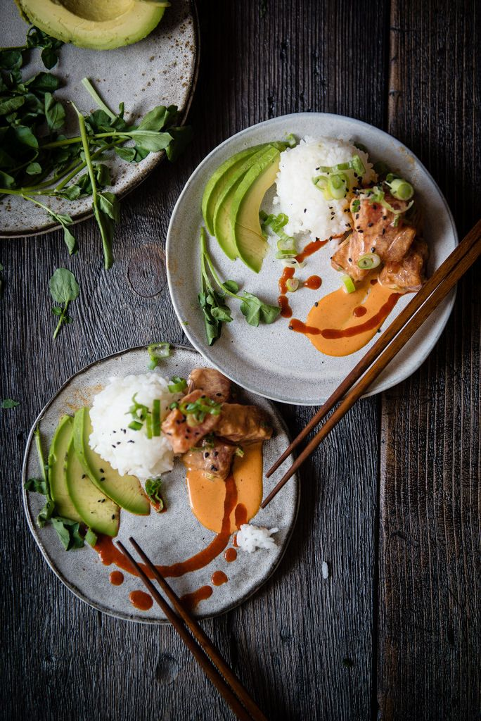 "spicy ahi poke, avocado and rice ""parfaitinis"" 