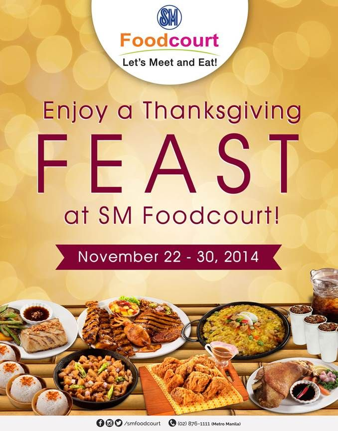 Celebrate Thanksgiving Day at SM Foodcourt starting November 22 - 30 and try the delicious feast prepared by Lydia's Lechon, Sizzling Plate, Kusina ni Gracia, Oriental Bowl, Mr. Kimbob and Inihaw Express for your loved ones! #ThanksgivingDay #Dining #LetsMeetandEat #SMFoodcourt #SMSanLazaro