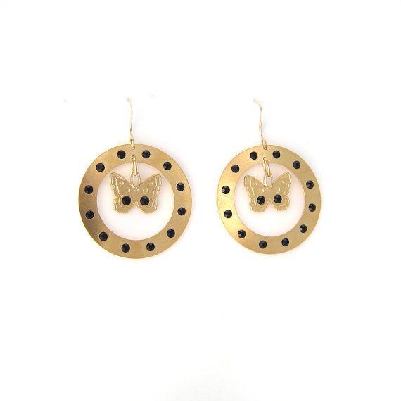 Boucles d'oreilles Papillons en métal doré et cristaux Swarosvki en vente sur mon e-shop Etsy - 20€ ©VisionOfJewels by ThierryRégnier