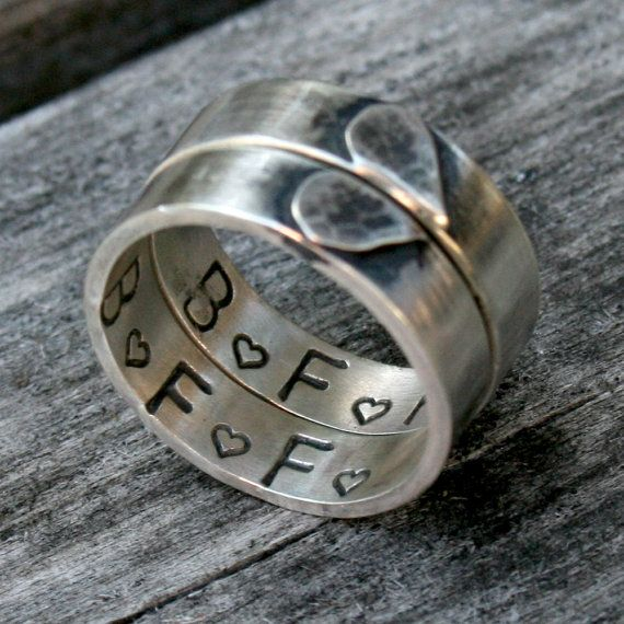 Sterling Silver Heart Ring Set Personalized Friendship by DDFemme