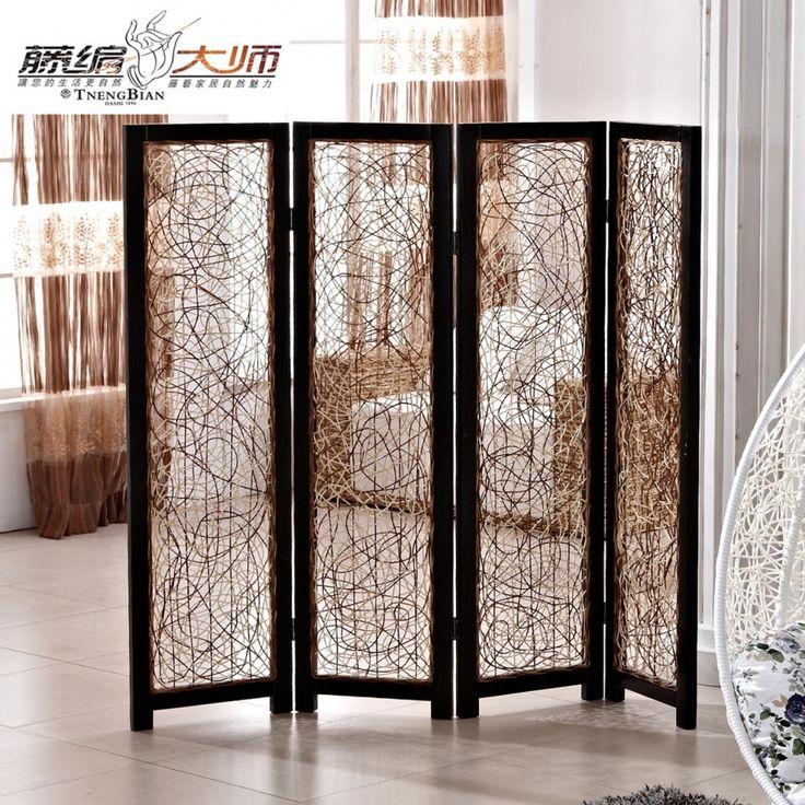 Fetching Living Room Design Ideas With Light Oak Wood Flooring And Black Rattan 4 Panel Folding Screen DividerFolding