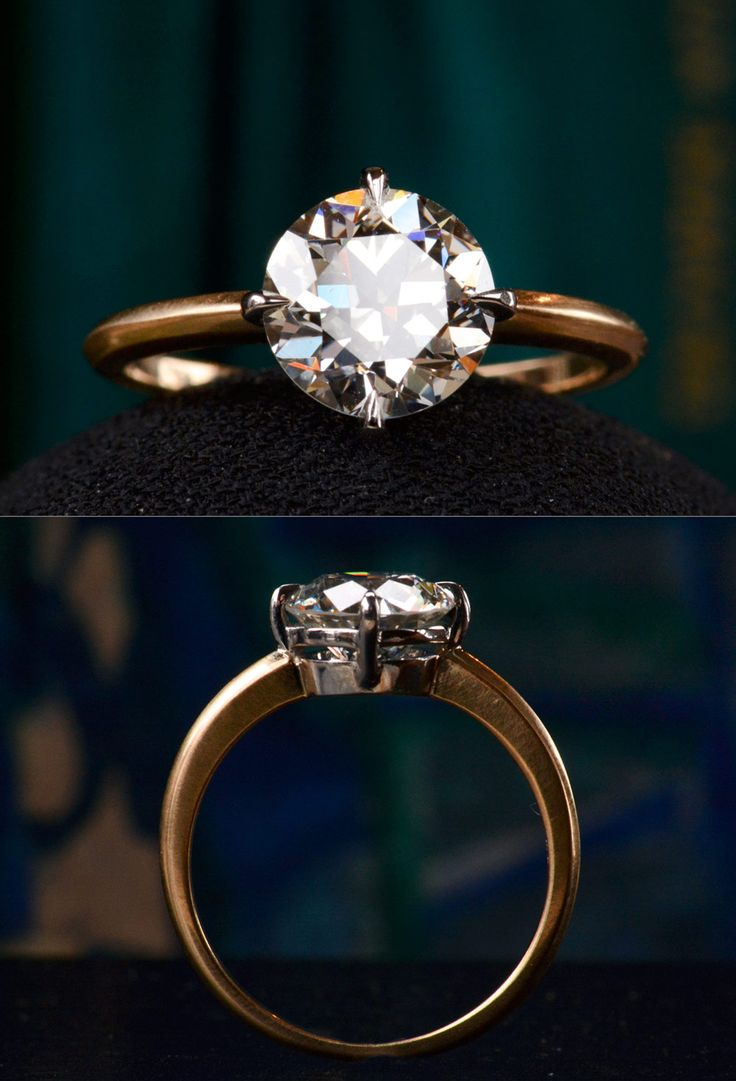 """One of the most beautiful two carat diamonds I've ever come across. Likely cut in the 1920-30s, it falls in-between""""old-European"""" and""""modern brilliant."""" Some of my favorite diamonds are of this transitional cut. They still have some of the additional depth that makes old European cuts so lustrous, but were cut with larger tables and modified proportions that optimize brilliance.EB 2.01ct (GIA I/VVS2) Diamond Engagement Ring"""