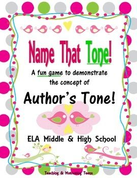 Bring a splash of fun and differentiation to your lesson about author's tone, which teaching ELA CCSS on tone. Students randomly select tones and various phrases to say using the tone. Great scaffolding technique, affective teaching strategy, and way to address multiple learning intelligences.