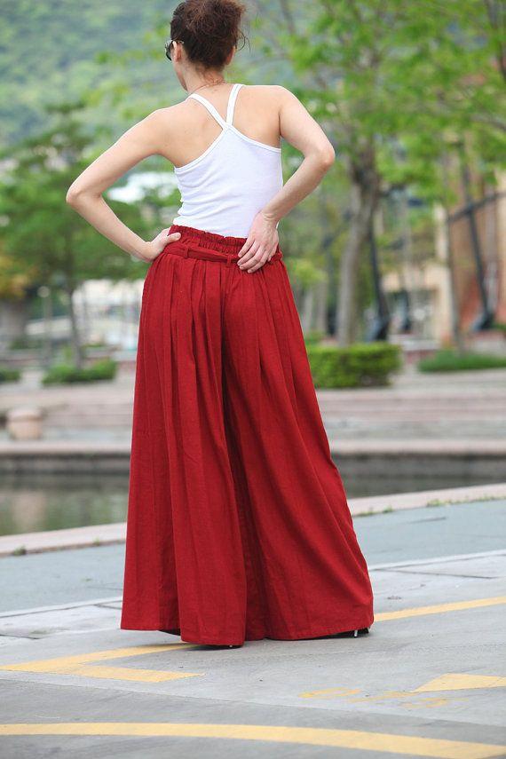 Wide Leg Pants in Navy Blue Boho Skirt Pants от Sophiaclothing