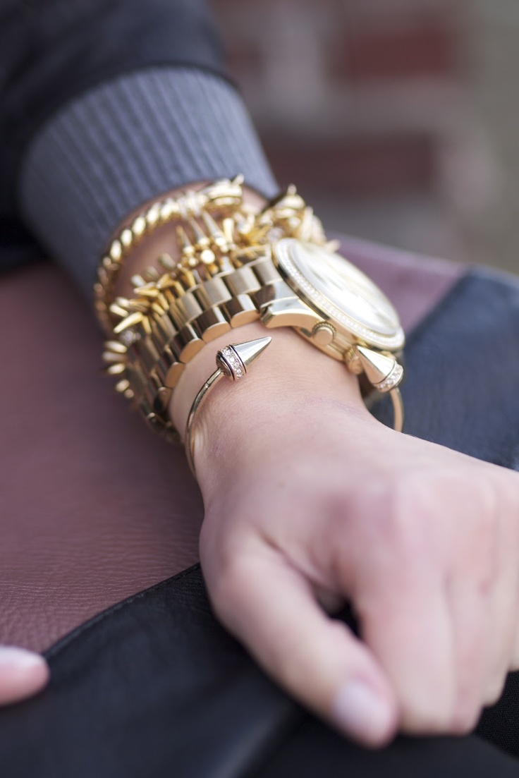 Michael Kors runway watch with @Fringe and Lace and Stella and Dot bracelets