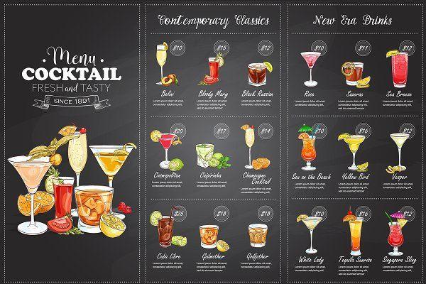 Drawing horisontal cocktail menu - Illustrations