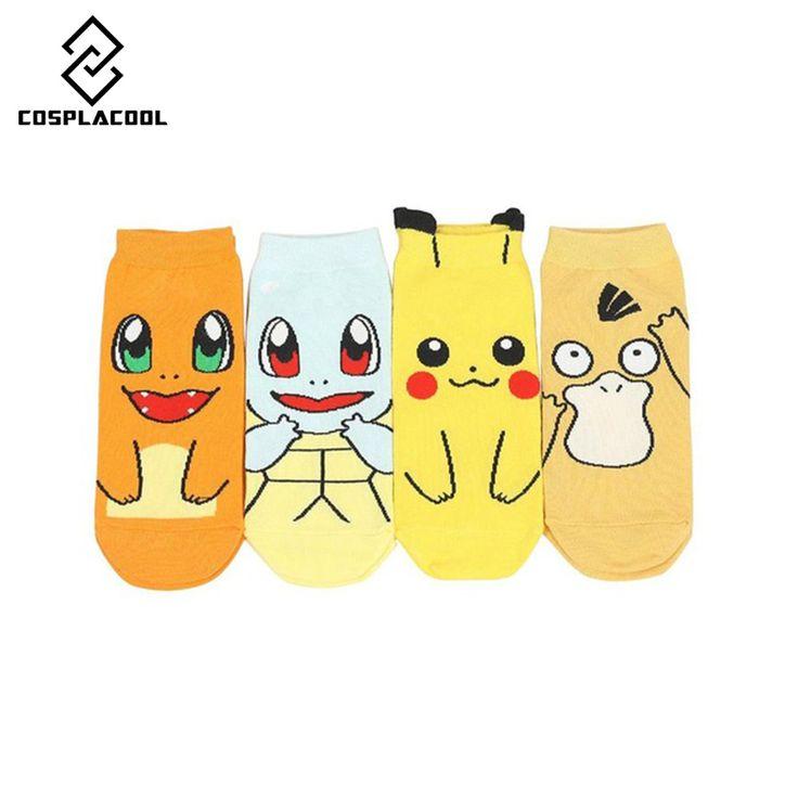 Karikatür Anime Pokemon Pikachu Kadınlar Kısa Sevimli Çorap sanat Çorap kadın lady kız summer pamuk öpücük çorap ayak bileği meias sox Pokemon