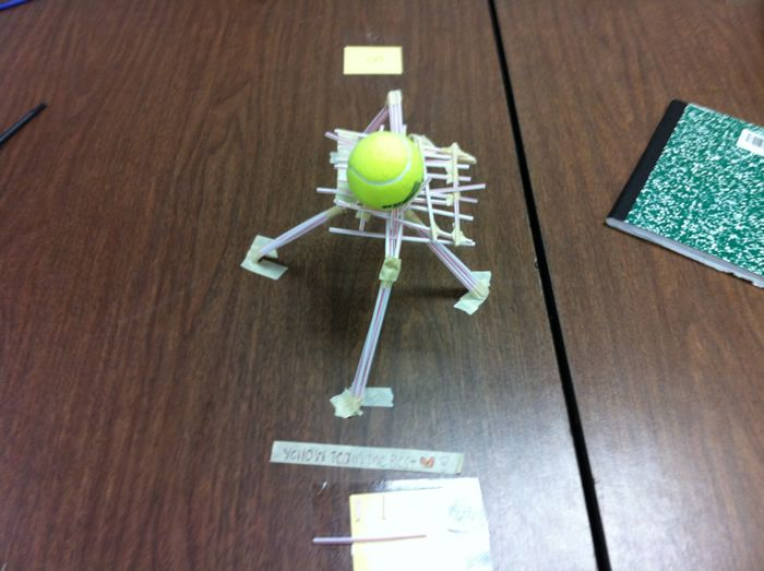 Straw-based engineering challenges. There are different various but basically, 30 straws, 1m of tape. Build a structure at least 18 inches tall that call support a tennis ball for 30 seconds.