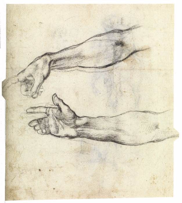 Buonarroti Michelangelo, Two Studies of an Outstretched Right Arm, (verso), 1508-09