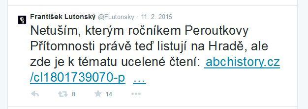 Redator ČT František Lutonský upozorňuje dne 11. 2. 2015 přes Twitter na článek serveru abcHistory.cz