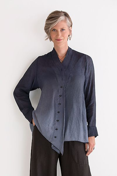 Alcott Shirt by Cynthia Ashby: Woven Shirt available at www.artfulhome.com With its dreamy, dip-dyed color and distinctive shaping details, this gorgeous shirt bears the creative stamp of an artist. The fabric has a subtle textured stripe that adds depth to the color.