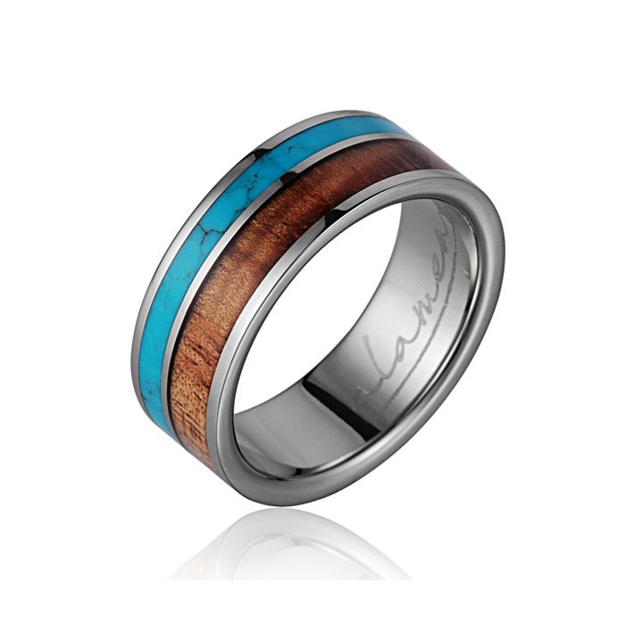 ring band turquoise wedding bands manly products w spo tungsten the rings unique koa surfer wood