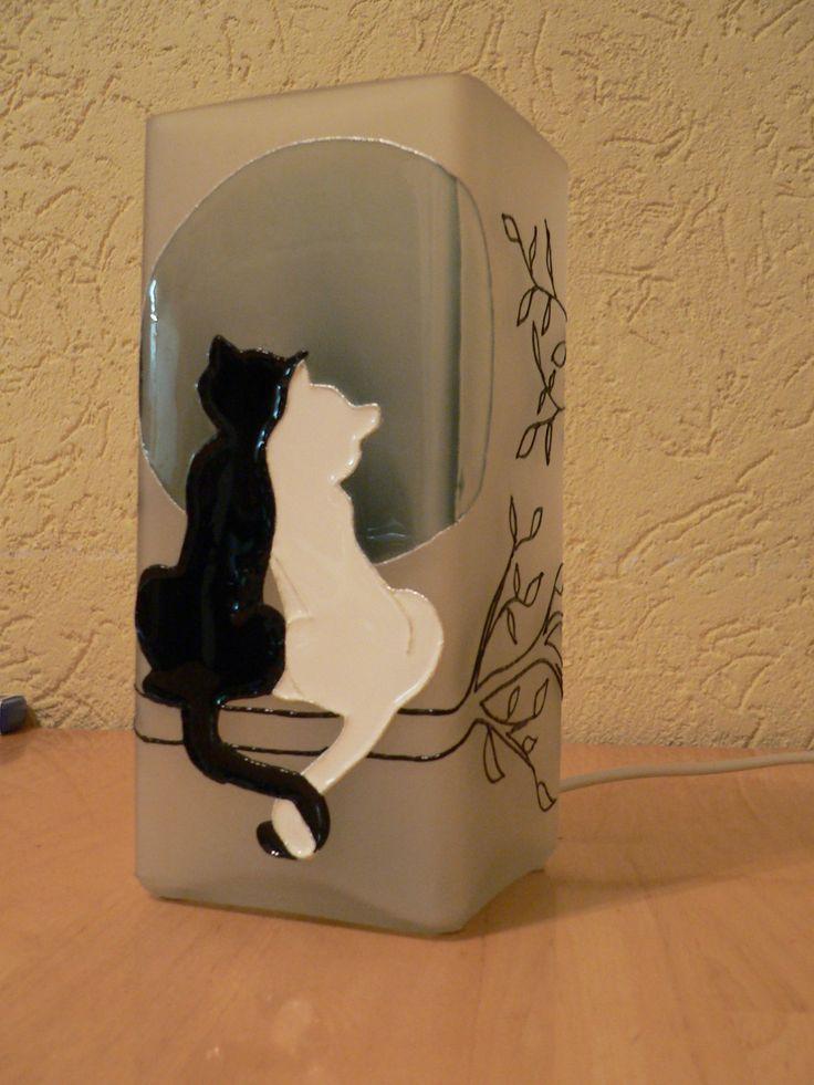 glass painting - Cats =Üvegfestés - Cicák