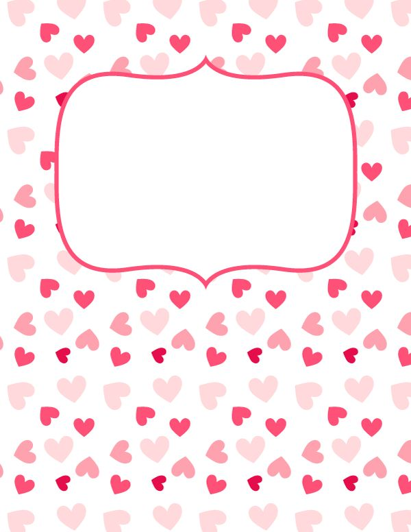 Free printable pink heart binder cover template. Download the cover in JPG or PDF format at http://bindercovers.net/download/pink-heart-binder-cover/