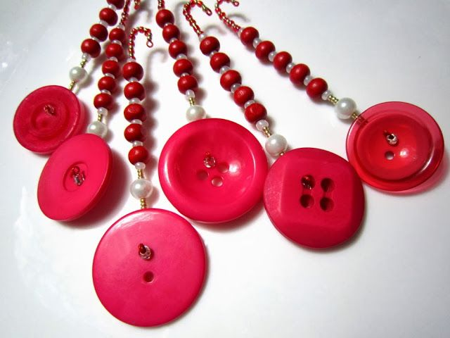 Button Dangles in Red and Purple