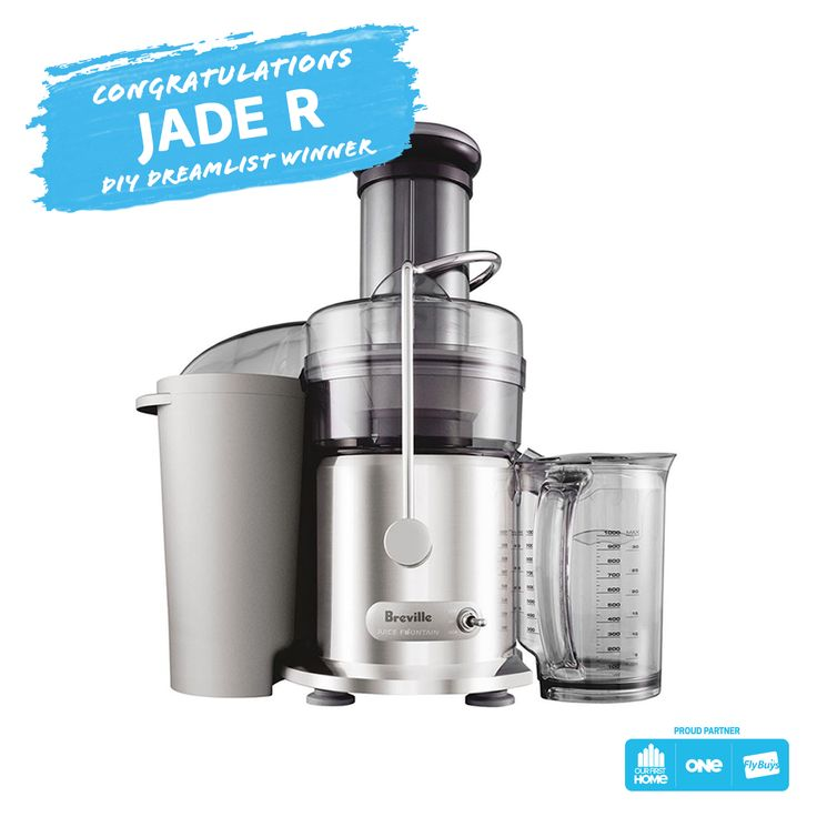 Congrats to Jade R, who is our DIY Dreamlist Pinterest winner! Jade has won one of her pinned rewards - a Breville Juice Fountain!  Mmm, fresh fruit juice.