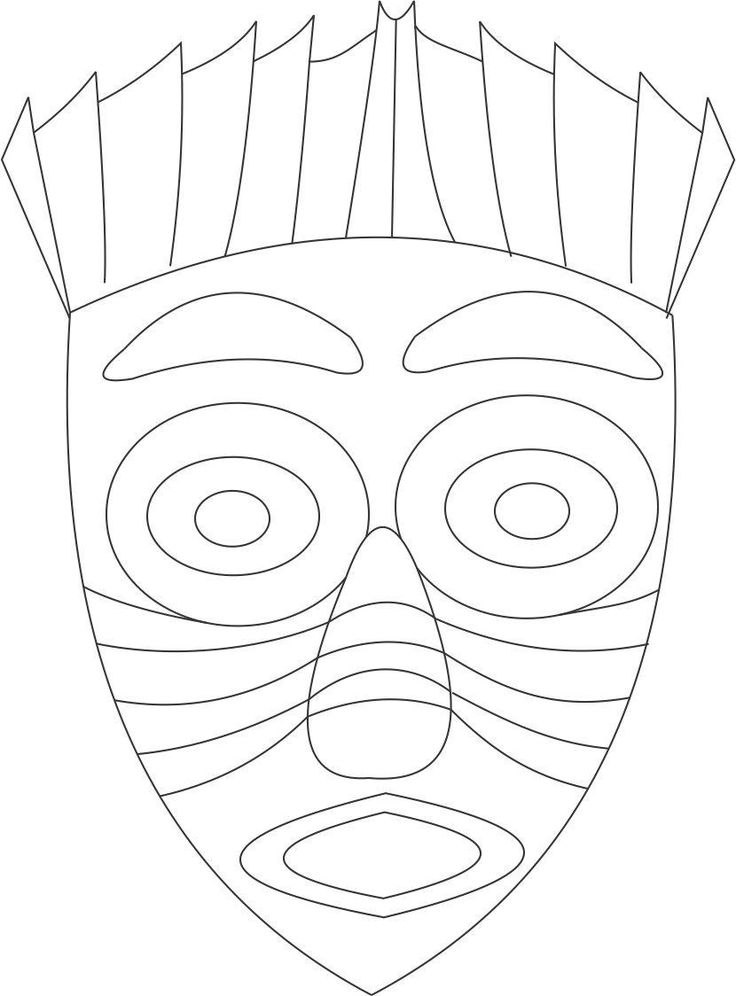 African Mask Coloring Page Art