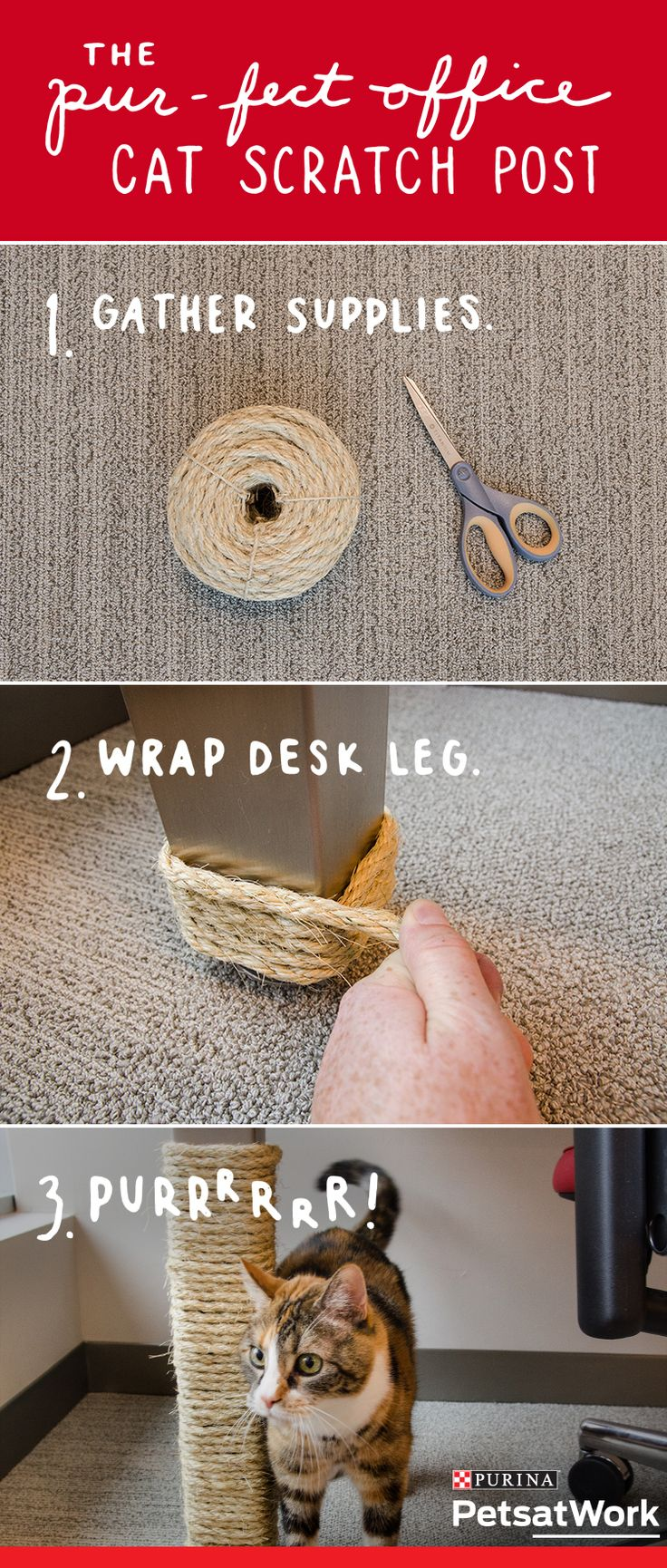 Here's a simple and easy #PetLifeHack that will entertain your cat while in the office. Follow this how-to guide to make a DIY cat scratch post right on your desk leg. #PetsAtWork | DIY videos here →  http://gwyl.io/