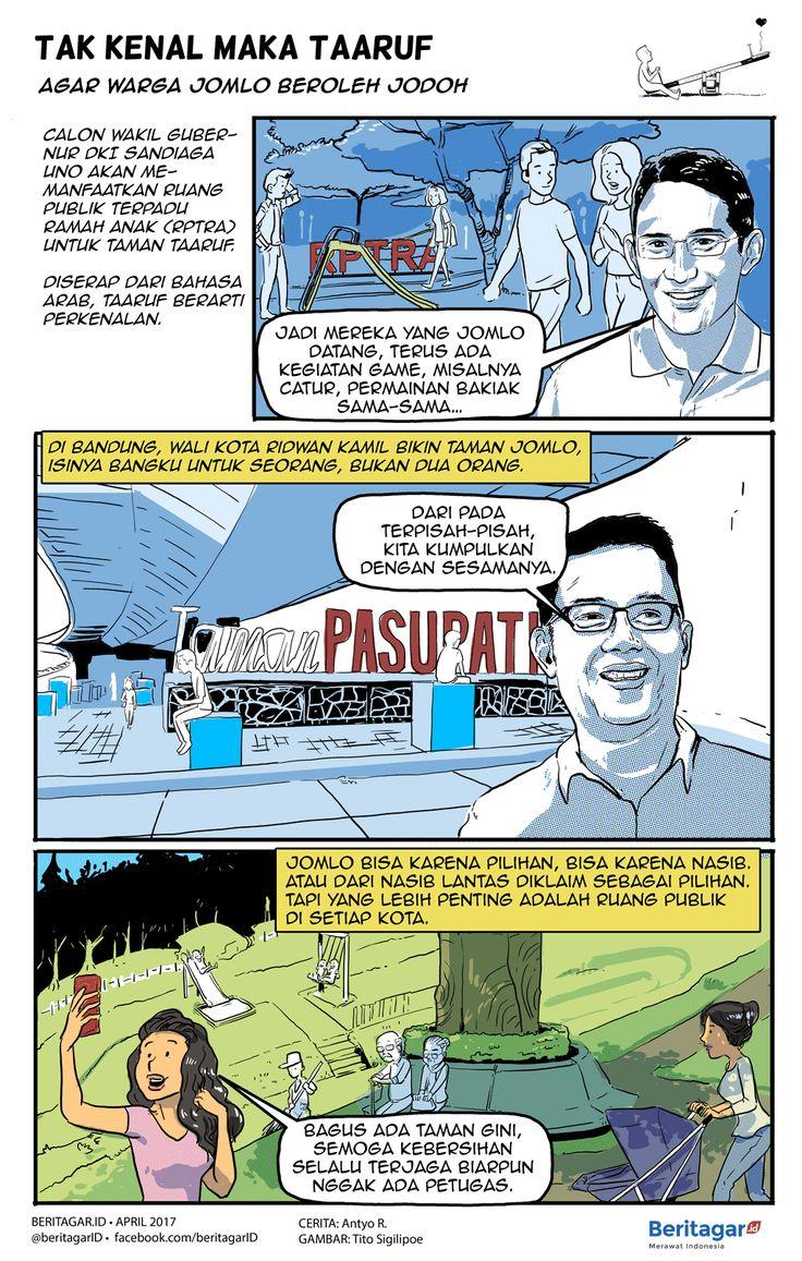 TAMAN | Persoalannya bukan warga jomlo tapi ruang publik terbuka.  Memang sih Ali Sadikin (Gubernur DKI 1966-1977) pernah berujar, Taman Ria Senayan dan Taman Monas perlu agar muda-mudi punya tempat untuk berpacaran karena rumah mereka kecil dan sesak.