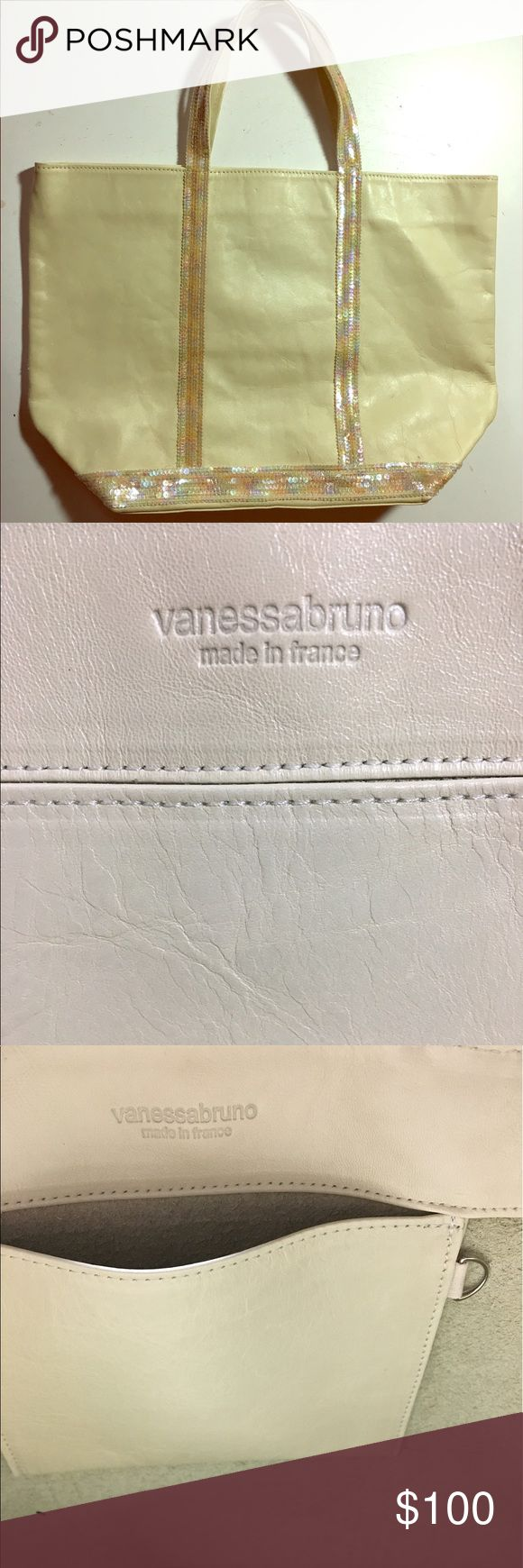 """Vanessa Bruno leather and sequin tote! Great condition , Vanessa Bruno classic tote. Cream leather with iridescent sequin handles and base.  12""""height, 10 1/2 width, 6"""" depth. Slight marks on side (see photo) Vanessa Bruno Bags"""